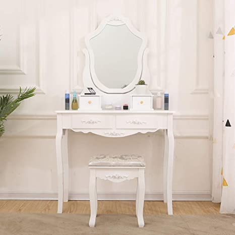 Remarkable Huisen Furniture White Dressing Table With Mirror And 4 Drawers For Bedroom Modern Small Makeup Vanity Table And Stool Set For Corner Girl Gift Dailytribune Chair Design For Home Dailytribuneorg