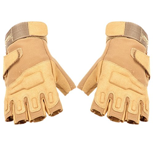 OLSUS Micro Outdoor Climbing Windproof Half Finger Glove Sand Size XL by OLSUS