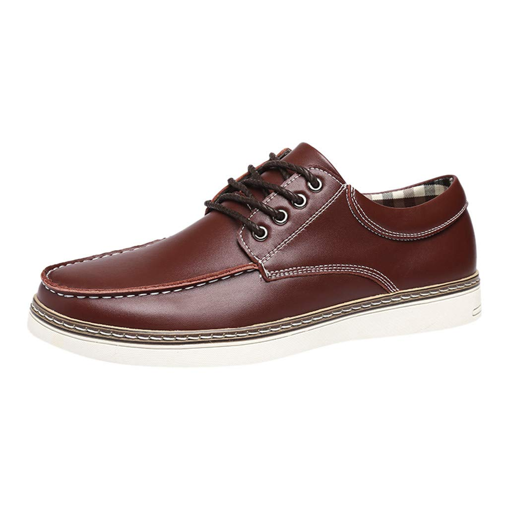 Men's Casual Oxford Shoes Casual Breathable Fashion Business Leather Shoes (US:7.5, Brown)