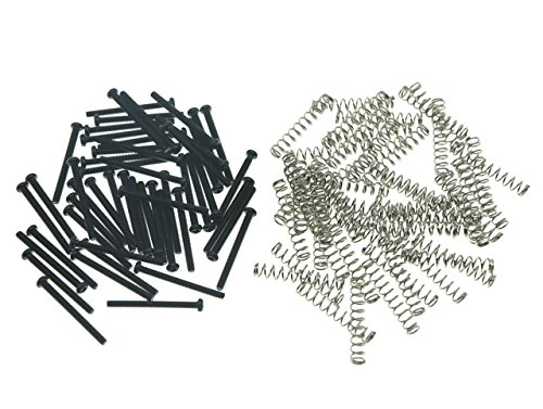 KAISH 50pcs USA/Imperial Thread Humbucker Pickup Height Screws Guitar Humbucker Pickup Screws with Springs Fits Gibson/EMG/Seymour Duncan/Dimarzio Black ()