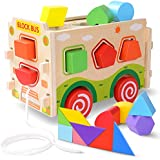 JOYNOTE Large Wooden Shape Sorter Bus with Tangram,Classic 3D Push Pull Truck Toy for Toddlers & Baby Color Recognition and Geometry Learning(20 Blocks and Carry Case Included)