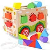 JOYCAT Large Wooden Shape Sorter Bus with Tangram Classic 3D Push Pull Truck Toy for Toddlers and Baby Color Recognition and Geometry Learning, (20 Blocks and Carry Case Included)