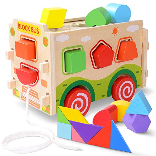 JOYNOTE Large Wooden Shape Sorter Bus with Tangram Classic 3D Push Pull Truck Toy for Toddlers and Baby Color Recognition and Geometry Learning, (20 Blocks and Carry Case Included) - Shape Sorting Bus