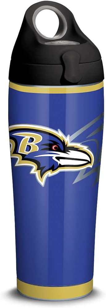 Tervis 1305170 NFL Baltimore Ravens Rush Stainless Steel Insulated Tumbler with Black with Gray Lid, 24oz Water Bottle, Silver