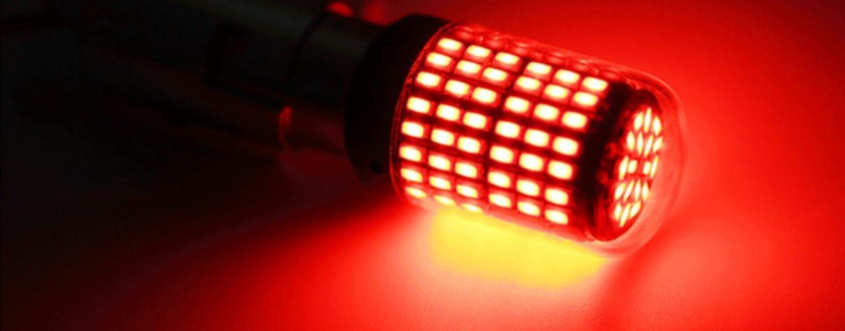 JKLcom 1156 LED Bulbs Super Bright 1156 Red LED Bulb 1156 1141 1003 1073 BA15S 7506 144 LEDs 3014 Replacement Light Bulbs for Brake Turn Signal Light,Pack of 2