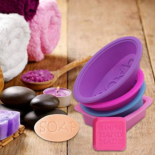 Gray SENHAI Cupcake Muffin Baking Pan Mould for Homemade Craft Rose Red Pink 6 Cavities 3D Bee Honeycomb Soap Molds /& 4 Pcs Silicone Pan Soap Molds Purple Blue