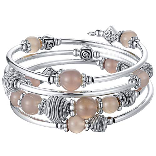 Grey Agate - Pearl&Club Beaded Chakra Bangle Turquoise Bracelet - Fashion Jewelry Wrap Bracelet with Thick Silver Metal and Mala Beads, Birthday Gifts for Women (Agate Grey)