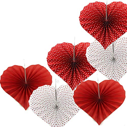 Adorox Set of 12 Romantic Valentines Day Heart Shaped Vibrant Bright Colors Hanging Paper Fans Rosettes Party Decoration for Holidays Fiesta (2 Pack)