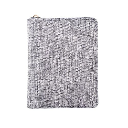Zippered Padfolio Portfolio Case with Basic Grid Writing Pad, Chris.W Linen Zipper Planner with Business Card Holder & Pen Slot -Compact Size, 4.33 by 6.10 inch