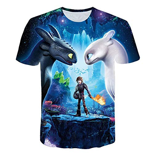 Hiccup Costume HTTYD Cosplay Jacket Halloween Hoodie Night Fury Toothless Pullover for Boys (L, T Shirt)]()