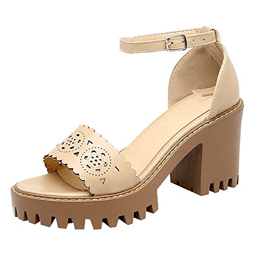 Carolbar Womens Ankle-Strap Open Toe Retro Buckle High Heel Sandals Beige