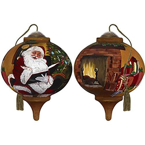 Ne'Qwa Art Hand Painted Blown Glass Santa's Notes Ornament, Multicolor