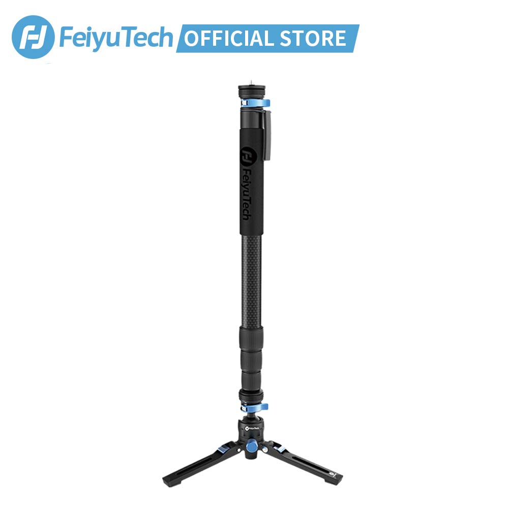 FeiyuTech Carbon Fiber Camera Monopod 4-Section Multifunctional Video Monopod Base Designed for DSLR Cameras/Gimbal Stabilizer,Payload up to 26lb by FeiyuTech