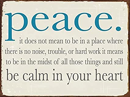 Amazon Peace Be Calm In Your Heart Metal Sign Motivational
