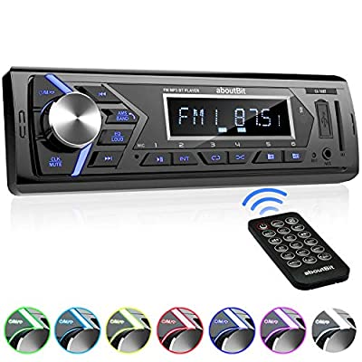 Bluetooth Car Stereo Radio Receiver,Single Din Mechless Digital Media Receiver Support FM/AM/USB/SD/FLAC/MP3/Aux-in with 7 Color Backlit,Wireless Remote Control: Car Electronics