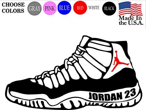 Jordan Retro 11 Shoe Sneaker Flight 23 Michael Basketball NBA Logo Vinyl Decal Sticker - Car Window, Laptop, Wall, Mac (11
