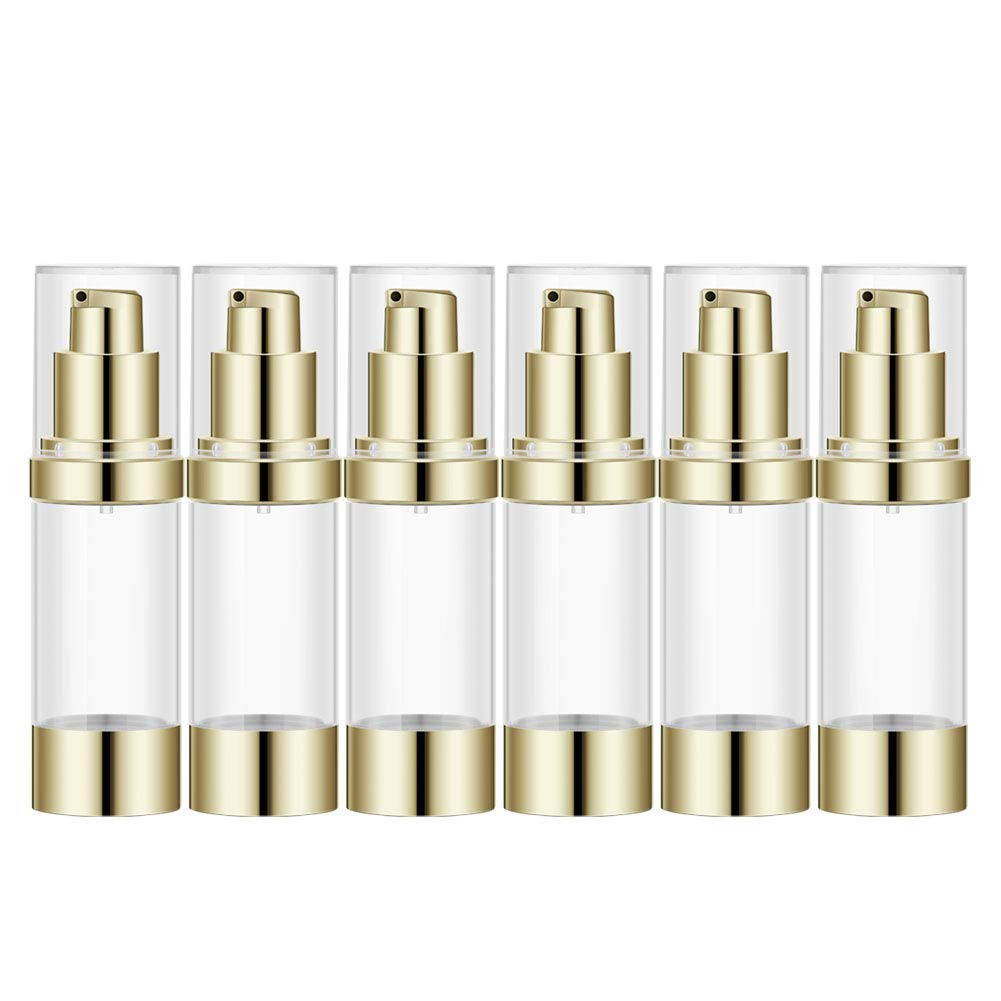 1Oz Refillable Airless Pump Bottle, Travel Lotion Container, Plastic Cosmetic Dispenser 6PCS,Light Gold