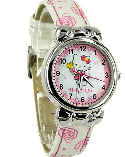 Hello Kitty reloj, Hello Kitty Niños Cartoon reloj lazo de niña reloj (blanco)