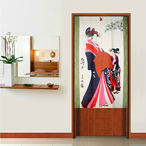 Vintage Japanese Geisha Show Pattern Door Curtain Japanese Noren Curtain Bedroom Doorway Curtain 85cm 140cm by LifEast