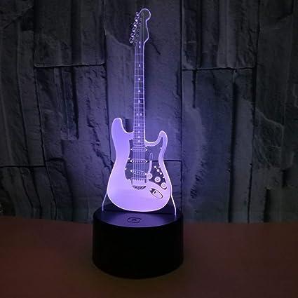 3D Luz Noche Guitarra Eléctrica Moderna 3D Illusion LED 7 Color Que Cambia Touch + Teledirigido