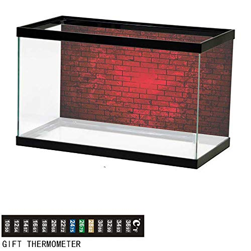 Suchashome Fish Tank Backdrop Maroon,Brick Wall Stained Display,Aquarium Background,36