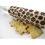 Rolling pin SNOWFLAKES. Wooden embossing rolling pin with Snowflake pattern. Embossed cookies. Pottery.