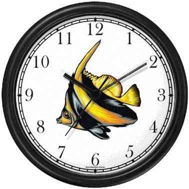 Striped Black Yellow Angel Fish Animal Wall Clock by WatchBuddy Timepieces Hunter Green Frame