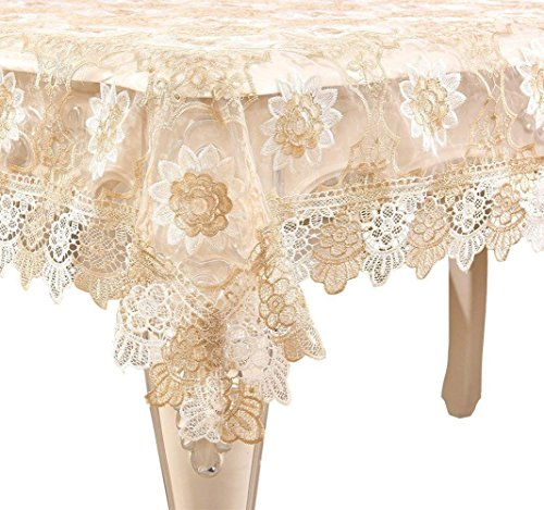- Adasmile Handmade Lace Fabric Crocheted Patterns Tablecloth with Red Flowers for Rectangle Tables for Party,Wedding,Golden,36