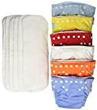 Charlie Banana 6 Reusable Diapers + 12 Inserts Set, Unisex, Medium
