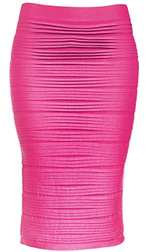 Fuschia Womens Skirt (KMystic Strapless Tube Dress and Pencil Midi Bodycon Skirt In One (Fuschia))