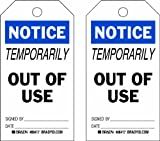 Brady  86417 5 3/4'' Height x 3'' Width, Heavy Duty Polyester (B-837), Black/Blue on White Accident Prevention Tags (10 Tags)