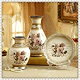 NEWQZ Ceramic Vases – Set of 3 Decorative Vases – Handcrafted Vessels with Flowers Pattern Design. Home Decor Accessories