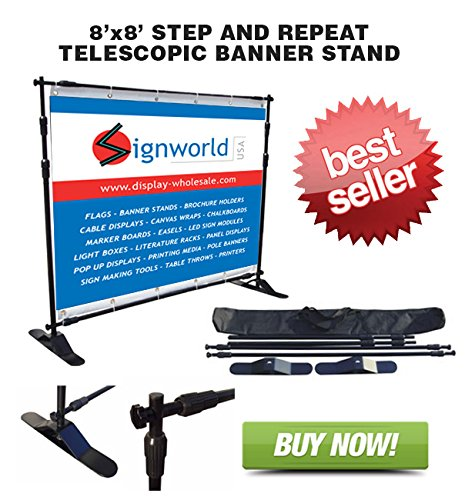 Signworld Telescopic Step and Repeat Backdrop Banner -