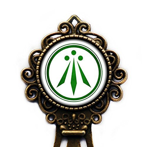Celtic Symbol - The Awen Three Rays of Light - Green on White Bronze Bookmark