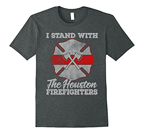 Mens I Stand With The Houston Firefighters T-shirt XL Dark Heather
