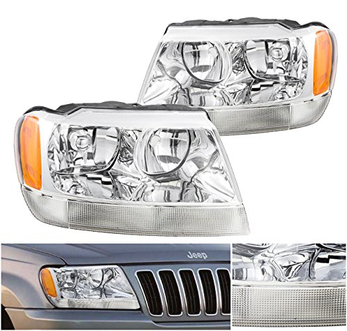 Jeep Grand Cherokee Replacement Headlight Assembly Chrome Amber Lamps Signal Bumper Lights