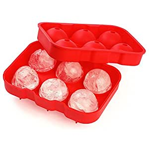 Ticent Ice Sphere Trays for Whiskey Cocktail Wine Ice Ball Molds Maker Round Premium Silicone Dishwasher Safe (Red)
