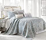 Spruce Spa King Cotton Quilt Set, Blue