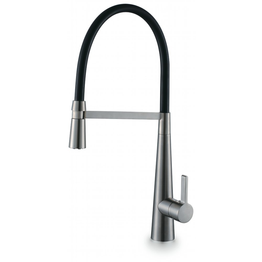 ENKI Pull Out Spray Kitchen Sink Mixer Tap Modern Tall Brushed ...