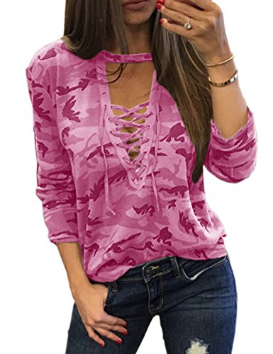 (Sexyshine Women's Camouflage Print Tops Bandage Deep V Low-Cut Lace-up Blouses Loose Long Sleeve T-Shirt(11877PI,L) )
