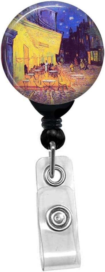 Vincent Van Gogh Black Badge Reel with Spring Pinch Clip Cafe Terrace At Night ID Name Tag Custom Badge Holder Retractable Badge Reel