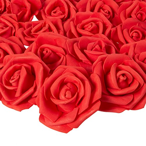 Juvale Rose Flower Heads - 100-Pack Artificial Roses, Perfect for Wedding Decorations, Baby Showers, Crafts - Red, 3 x 1.25 x 3 Inches
