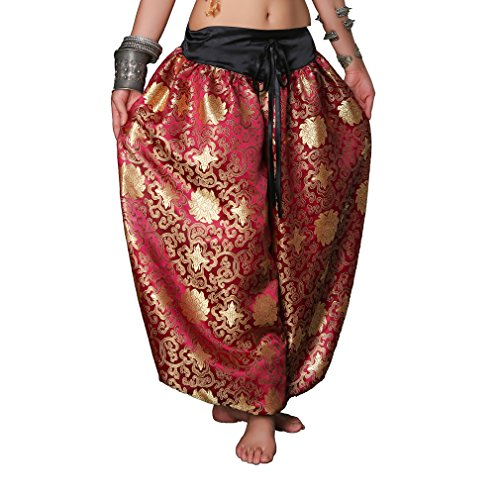 UPRIVER GALLERY Loose Unisex Bloomers Dance Tribal Pant Dance Harem Pants Burgundy Color (Belly Dance Harem Pants For Women)