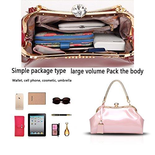 cuoio sacchetto modo Tisdain ha placcato di del della laccata nuova il femminile Rosa vernice messaggero La svago del raccoglitore spalla signora di borsa della di di PFxRqwYFC