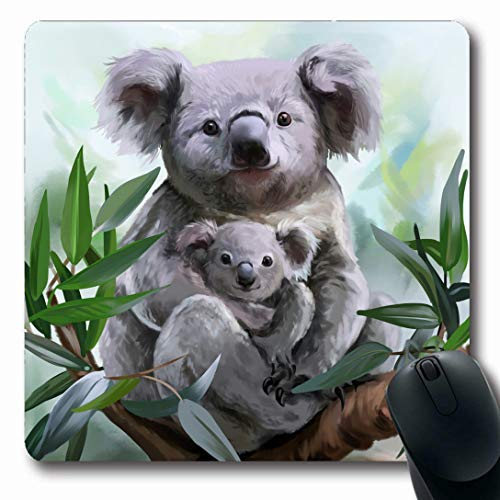 Ahawoso Mousepads for Computers Drawing Koala Her Baby Watercolor Painting Bear Wildlife Australia Australian Cute Digital Design Oblong Shape 7.9 x 9.5 Inches Non-Slip Oblong Gaming Mouse Pad (Best Gaming Pc Australia)