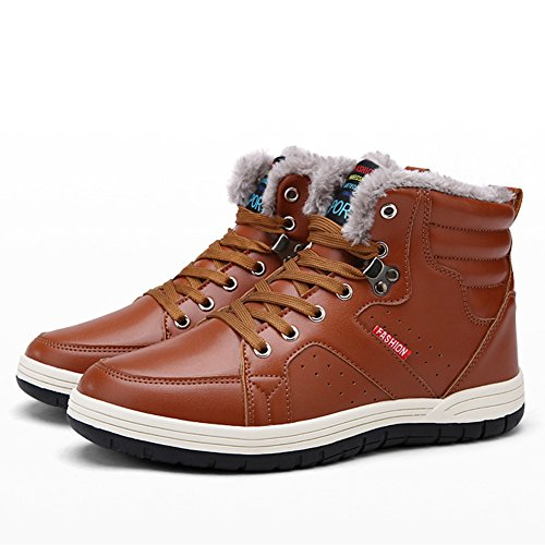 SANBANG Mens PU Leather Snow Boots With Fully Fur Casual Ankle Sneakers For Outdoor Skiing Driving Walking Brown oN2npltX9