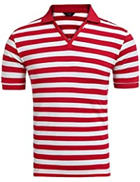 Men's Basic Short Sleeve V-Neck Stripe Polo T-Shirt Slim Fit