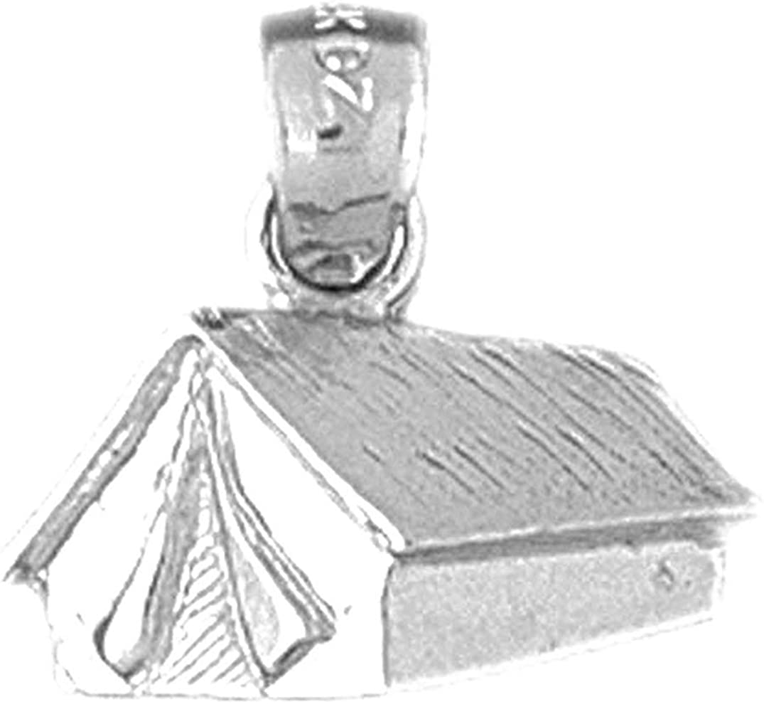 Jewels Obsession Tent//Cabin Pendant Sterling Silver 925 Tent//Cabin Pendant 14 mm