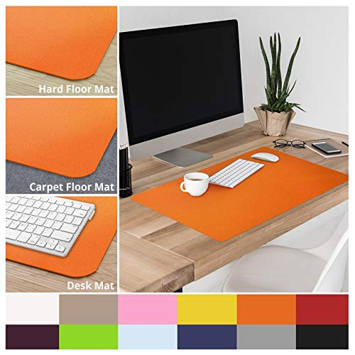 casa pura Non-Slip Orange Desk Mat | 20 x 26 (1.6x2) | PVC & Phthalate Free | Multiple Colors to Choose from | Matching Chair Mats Available