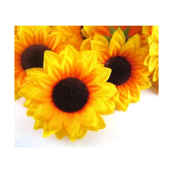 (100) Silk Yellow Sunflowers sun Flower Heads , Gerber Daisies – 1.5″ – Artificial Flowers Heads Fabric Floral Supplies Wholesale Lot for Wedding Flowers Accessories Make Bridal Hair Clips Headbands Dress by Florist Brand